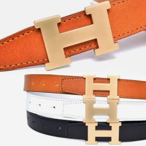 Unisex Matt Gold Leather-Belt 166