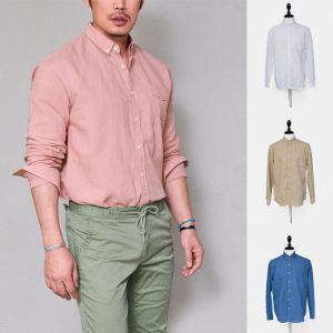 Laid-back Easy Linen Basic-Shirt 203