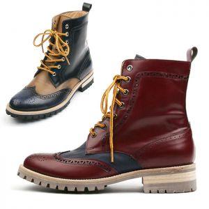 Contrast Wingtip Premium Boots-Shoes 639