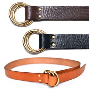 Unisex Brass Ring Washed Cowhide-Belt 169