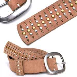 Stud Washed Soft Suede-Belt 172