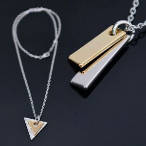 Gold Silver Double Pendant Chain-Necklace 324