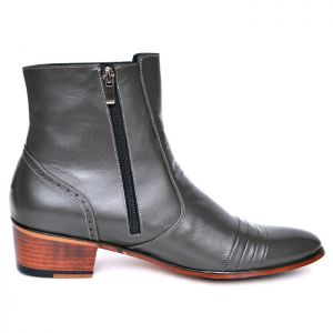 Gray Seaming Ankle Boots-Shoes 646