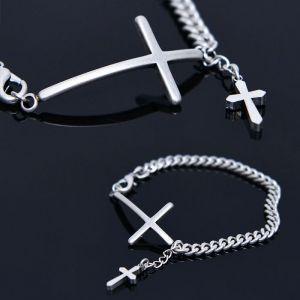 Double Cross Chain Cuff-Bracelet 436