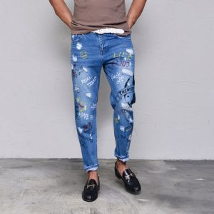Funky Print Relaxed Ankle-Jeans 387