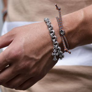 Thick Chain Flower Cross Cuff-Bracelet 446