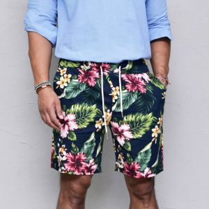 Flower Print Cotton Banding-Shorts 178