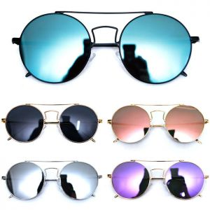 Chic Oversized Round Mirror-Sunglasses 119