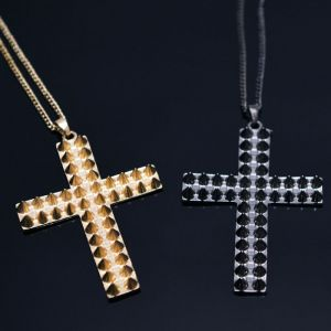 Pointy Double Studs Cross -Necklace 329