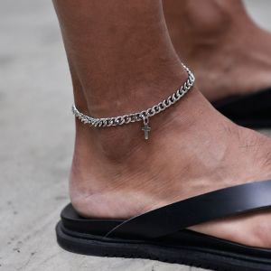 Sleek Chain Cross Anklet-Anklet 10