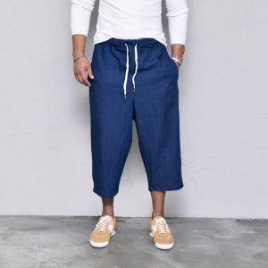 Denim Wide Crop Baggy Banding-Pants 337