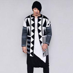 Geometric Long Open Knit Jacket-Cardigan 237