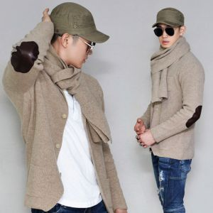 With Scarf Elbow Patch Wool Sweater-Cardigan 245