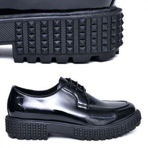 Enamel Black Cushion Lace-up-Shoes 668