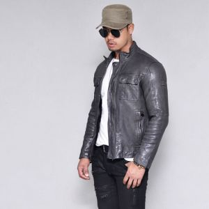 Pocket Lambskin Gray Biker-Leather 138
