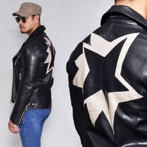 Star Patch Lambskin Zipper Biker-Leather 140