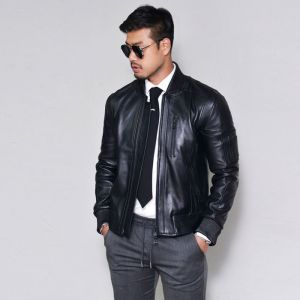 Sleek Lambskin Flight Biker-Leather 141
