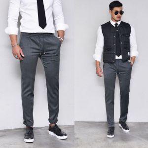 Slim Banding Modern Slacks-Pants 359