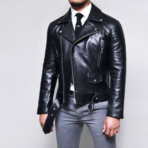 Sleek Belted Urban Slim Biker-Leather 143