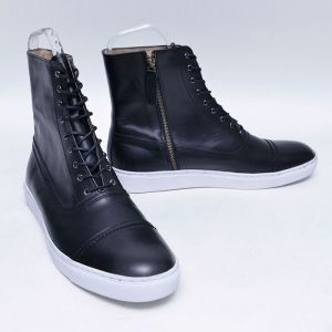 Slender Body Leather Hightop-Shoes 684