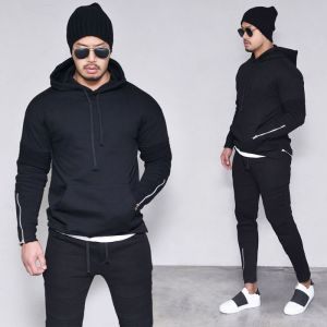 Zipper Fleece Biker Hood Set-Gymwear 35