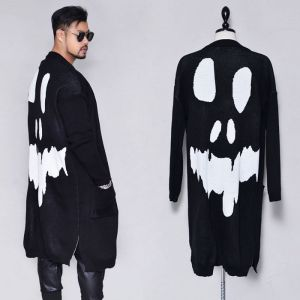 Loose Fit Big Skull Long-Cardigan 257