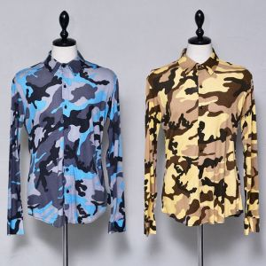 Softly Body-hugging Camo Shirt-Sale 89