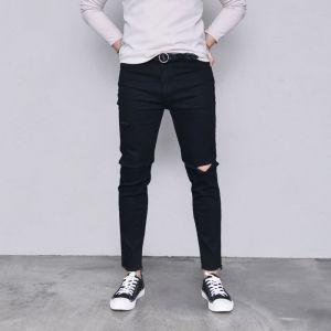 Knee Cutting Black Slim Ankle-Jeans 447