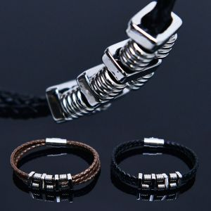 Spring Coil Leather Braided Cuff-Bracelet 467