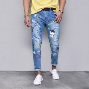 Funky Print Semi-baggy Relax-Jeans 456