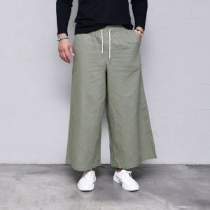 Linen Wide Crop Banding-Pants 419