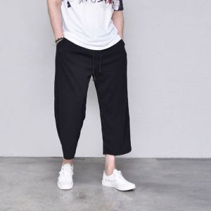 Embossed Wide Cut Crop Baggy-Pants 421