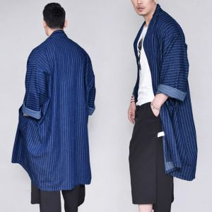 Stripe Denim Coat Cardigan-Cardigan 272