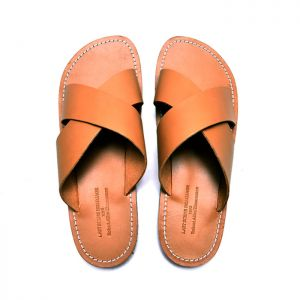 X Strap Whole Leather Sandals-Shoes 744