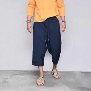 Light Linen Crop Wide Banding-Pants 451