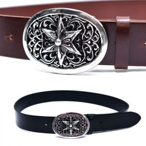 Star Engraved Biker Leather-Belt 198