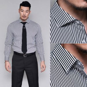 Two Type Collar Slim Stripe Shirt-Shirt 274