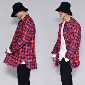 Corduroy Collar Long Checker-Shirt 277