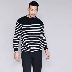 Sleek & Classy Striped Boatneck-Knit 230
