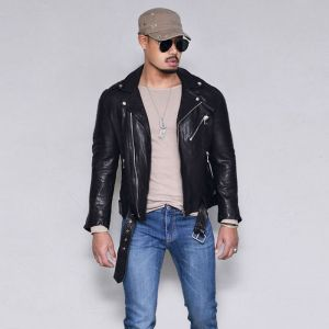 Belted Seaming Lambskin Biker-Leather 164