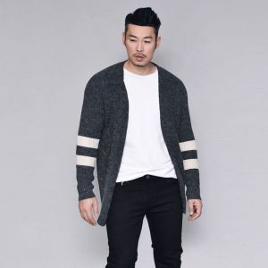 Stripe Trim Slim Wool Jacket-Cardigan 288