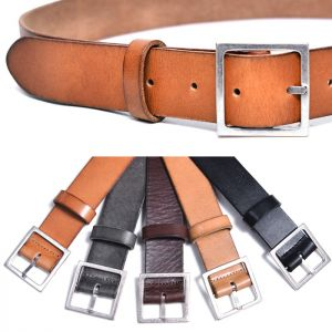Vintage Silver Square Buckle Leather-Belt 202