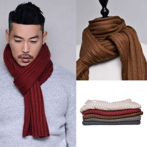 Easy-to-match Ribbed Wool-Scarf 46