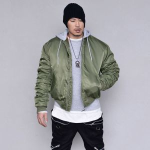 Built-in Hood Shirring Bomber-Parka 110