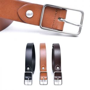 Matt Silver Square Cowhide-Belt 203