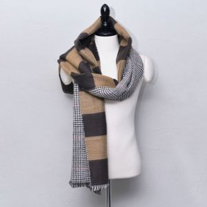 Contrast Check & Stripe Wool-Scarf 53