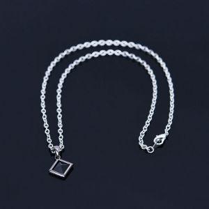 Black Cubic Square Charm-Necklace 376