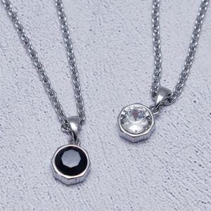 Gemstone Octagon Charm-Necklace 377
