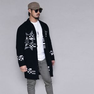 Long Jacquard Shawl Jacket-Cardigan 297