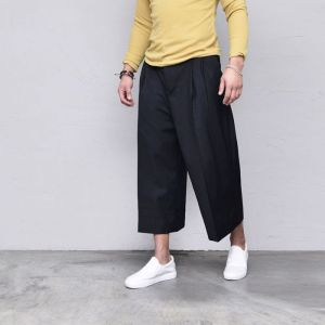Crop Wide Baggy Slacks-Pants 542
